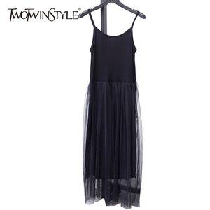 Galcaur Spaghetti Strap Vestido femenino túnica alta cintura malla patchwork asimmetrico midi vestidos 2020 verano moda sexy y200623