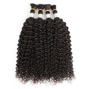 4 pcs cabelo natural cor natural jerry cacheado cabelo humano indiano sem trama cabelo encaracolado a granel para trança