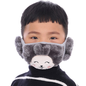 Kids Cartoon Bear Face Mask with Ear muffs Thick Warm Kids Mouth Masks Winter Mouth-Muffle Children Adult Dustpoof Mask