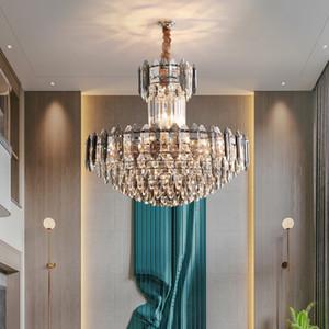 New Design Crystal Lightleier Lights para Hall Villa Villa Sala de estar Lámparas Colgantes de Lujo Smoky High-End Crystal Colgante Iluminación
