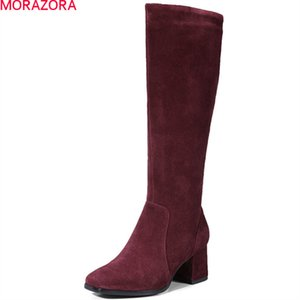 2020 fashion women boots square toe zipper cow suede boots square heel leather knee high boots black wine red210
