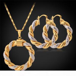 2015 قلادة ذهبية تنتج 2015 مجموعة البلاتين 18 كيلو الذهب الحقيقي مطلي العصرية قلادة قلادة هوب أقراط النساء مجموعة مجوهرات