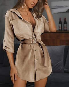 hot Women's Slim Sexy Shirt Dress Summer Solid Color OL Lapel Dress Fashion Casual Wear # free shipping #0059