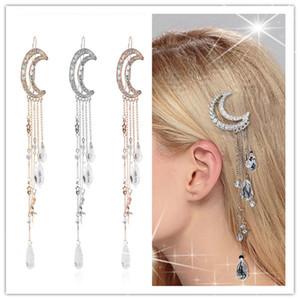 Bandas Mulheres elegantes Cabelo Lady Lua strass cristal Tassel Cadeia Longa Beads Dangle Hairpin Cabelo grampo de cabelo Acessórios do casamento Jóias