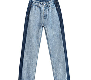 Jeans women 2020 spring Korean version contrast color stitching show thin net red personality nine point straight pants factory direct55