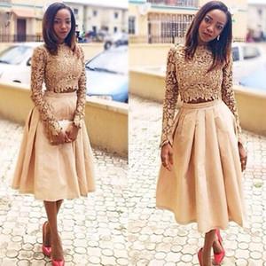 2021 Altın İki Adet Gelinlik Uzun Kollu Dantel Saten Çay Boyu Yüksek Boyun Saten Custom Made Örgün Akşam Elbise Plus Size vestido