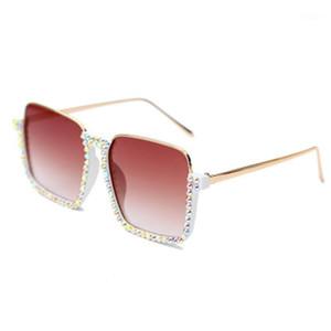 선글라스 패션 트렌드 하프 프레임 투명 한 여성 2021 브랜드 디자이너 광장 라인 스톤 태양 안경 여성 그라데이션 안경