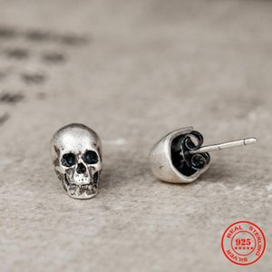 MKENDN 100% 925 Sterling Silver Creative Retro Skull Stud Earring Trendy Street Punk Style Ear Pin for Men Women Fine Jewelry