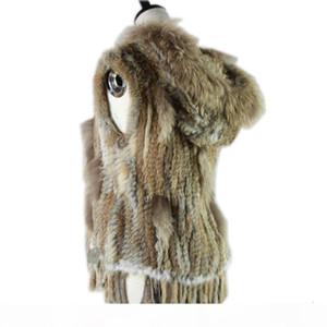 mapache moda Harppihop recorte de punto de conejo chaleco con capucha chaleco de piel chaleco Y190925
