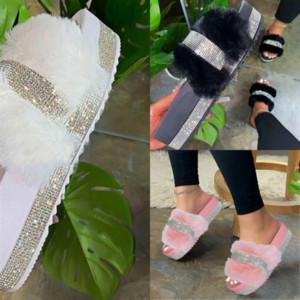 tHEOe Real high quality Fluffy Fur Slippers Women Sliders Casual Hair Home Raccoon Fashion Flat Summer Big Size designer slipper Furry