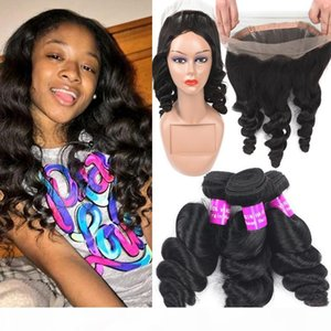 9A Malaysian Virgin Hair Bundles With 360 Lace Frontal Closure Loose Deep Water Wave Human Hair Extension 3Bundles And Full 360 Lace Frontal