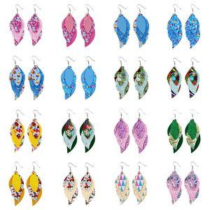 Easter Rabbit Leather Earrings for Women Girls Lightweight Jewelry Handmade Charms Pendant Teardrop 3 Layered Dangle Earrings Kimter-B340F
