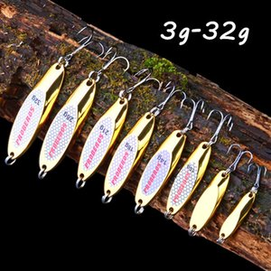 1pc 3g-32g(33.5mm-70mm) Gold Spoons Metal Baits & Lures Fishing Hooks 10 8 6 4 2# Hook Pesca Fishing Tackle W7-312