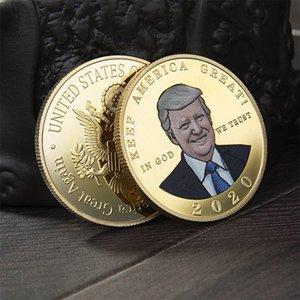 Nuevo Spot EE. UU. Presidente Trump Medalla de Oro 2020 Suministros Electorales Trump Color Impresión Metal Moneda Moneda Cambiadora OWC687