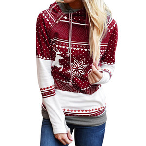 Christmas Hoodies Women Zipper Dot Elk Snowflake Printed Sweatshirt Female Drawstring Hoody Pullover Tracksuit Sudadera S-2XL