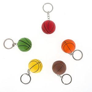Basketball Key Chain Mini Ball Keychain Car Key Ring Sports Club Gift Bag Pendant 5 Color Mix 30pcs lot wholesale