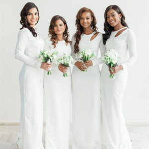 White Long Sleeves Bridesmaid Dresses Boho Wedding Guest Party Dress Jewel Neck 2021 Back Slit Long Maid Of Honor Gowns Africa Modern AL8465
