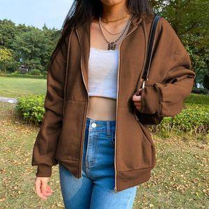 Braun Y2k Ästhetische Hoodies Frauen Vintage Reißverschluss Sweatshirt Winterjacke Casual Warme Langarm Mit Kapuze Cardigan Kleidung 2020