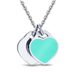 Grüne Liebesform Charm Frauen Edelstahlkette Doppel Herz Anhänger Halskette