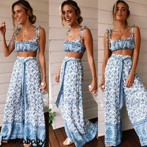 Women 2 Piece Outfit Set Jumpsuit Long Pants Set Sleeveless Crop Tops Wide Leg Pants Holiday Clothes