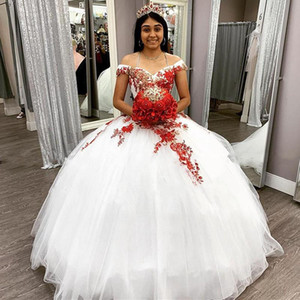 vestidos de xv años Quinceanera Dresses Prom Ball Gowns Red Embroidery Lace Backless Sweet 15 Dress Pageant Prom Party Gowns