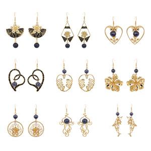 Dangle Earrings Gold Plated Chandelier Jewelry Set Geometric Drop Plumeria Flower Pearl Heart Hawaiian Earring For Women Gifts