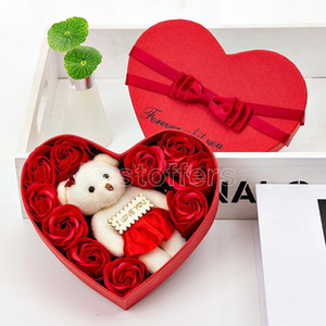 Valentine Day Rose Gift Box 10 Flowers Soap Flower Gift Box Rose Flower Boxs Bear Bouquet Wedding Birthday Party Decorations Gifts