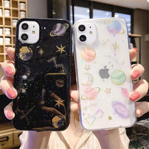 Glitter Bling Stars Moon Phone Case für iPhone 11 Pro SE X XR XS MAX 8 PLUS CLEAR Planet Weiche TPU Rückseite