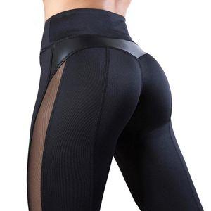 NORMOV Schwarz Fitness Legging Frauen hoher Taillen-Trainings-Legginngs Femmle Mesh-PU-Leder-Patchwork-Gamaschen dünne Hosen