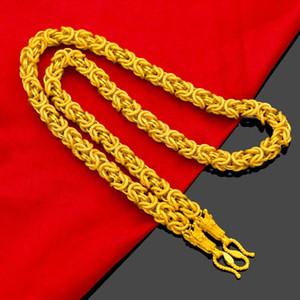Colar de corda de cabeça de dragão de ouro amarelo 24k para homens Vietnamese Gold Neck Chain Colar de casamento de casamento fino presentes de jóias