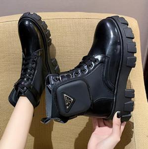 Herbst-Winter-Bootie Taschen-Wölbungs-Bügel-Motorrad-Stiefeletten glänzendes Leder Martin Boots-Plattform-Frauen Stiefel Botas Mujer