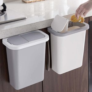 Kitchen Cabinet Door Hanging Trash Can with Lid Wall-Mounted Trash Garbage Bin Waste Storage Rubbish Container white gray LJ201128