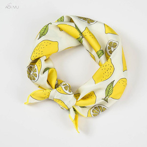 AOMU Square Scarf Hair Tie Band For Business Party Women Cute Lemon Pattern Head Head-Neck Satin Silk Scarf 50*50cm