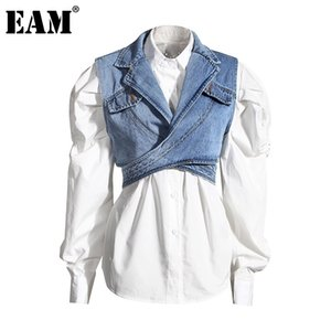 [EAM] Women Blue Denim Irregular Blouse New Lapel Long Puff Sleeve Loose Fit Shirt Fashion Tide Spring Autumn 1Z595 201013
