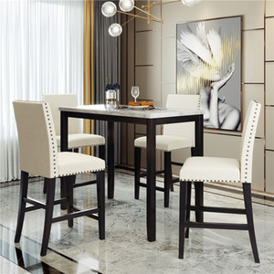 US STOCK 5 Piece Counter Height Faux Marble Modern Dining Set with Matching Chairs and Marble Veneer for Home Beige