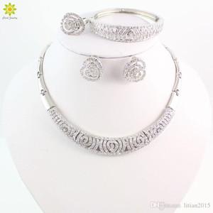 Heiße Verkaufs-Afrikanische Perlen Schmuck-Set Mode Dubai Silber überzogene Schmucksets, Indien, Design für Hochzeit Bräute