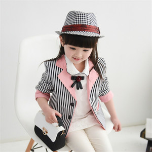 elegant cute style girl blazer striped coat lady suit blazer coat for 2-12years girls kids children blazer out
