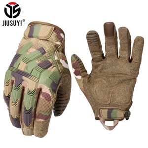 Tactical Army Full Finger Gloves Touch Screen Military Paintball Airsoft Combat Rubber Protective Glove Anti-skid Men Women New 201019