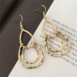 Modern Girl Dekoration Goldfarbe Hammered Teardrop-Ohrringe für Frauen-Mädchen-beiläufige Tragen