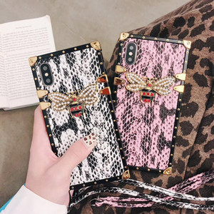 Luxury Designer Snake Skin Bee Phone Case For iPhone 11 Pro Max Xr Xs Square Case For iPhone X SE 2020 7 Plus 8 6S 6 Fundas