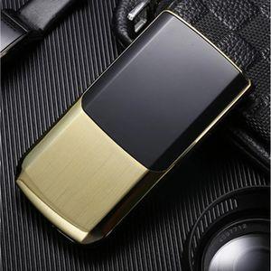 Unlocked Extra Slim Original TKEXUN Old Man Flip Luxury Gold Cellphone Dual Sim Card Metal Torch Handwriting Screen Camera MP3 Mobile Phone