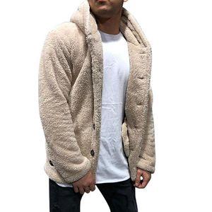 Yeni Tops Kalın Sıcak Düğmeler Shrug Polar Hırka Kapşonlu Tek Göğüslü Uzun Kollu Erkek Dış Giyim Kapşonlu