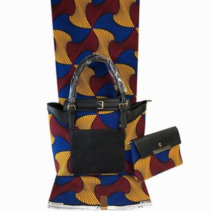 2020 African Handmade Wax Bag With Fabric Set Fashion Woman Handbag And Cotton Wax Fabric To Match Set For Clothes