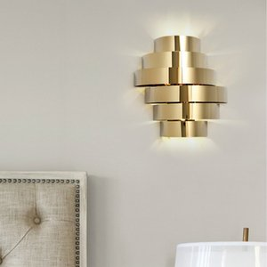 Modern Simple Golden Wall Lights Led Stainless Steel Wall Mounted Lamp For Livingroom Bedside Corridor Aisle Deco Maison Lustre