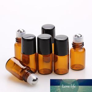 1500pcs lot Empty Mini 2ml Amber Roll on Glass Bottles Essential Oil Perfume Bottle With Metal Roller Ball Bottle Vials