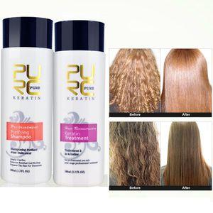 2PCS PURC استقامة 5٪ إصلاح الكيراتين الشعر استقامة الأضرار الشعر تونيك البرازيلي كيراتين + شامبو مطهر N40R