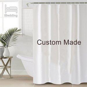 Tapis de salle de bains ibeding Set étanche de bain de bain Pod Photo Personnalisé Photo Polyester Décor de salle de bains avec crochets 4PCS / Set 201128