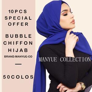 10pcs / lot delle donne chiffon sciarpa della pianura Bubble Wrap chiffon Hijab solido testa di colore scialli fascia Hijabs musulmano Sciarpe Bandane 201006