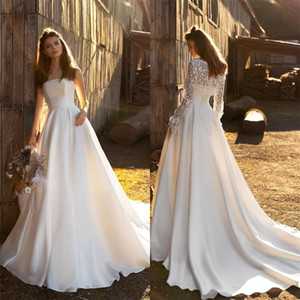 Elegant Satin A Line Wedding Dresses with Jacket Lace Up Strapless Bohemian Wedding Gowns Plus Size Customise vestido de novia