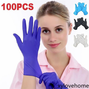 S-M-L-XL Disposable Gloves Nitrile Rubber Elastic Glove Latex Home Food Laboratory Cleaning White Blue Black Thin Multifunctional Home Tools